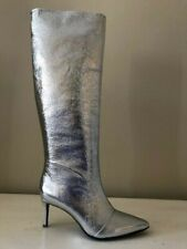 RAG&BONE NEW YORK BEHA  KNEE HIGH LEATHER BOOTS SIZE EU 38/ US 8 IN SILVER
