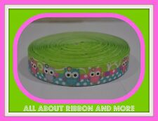 7/8 INCH CUTE OWLS WITH LIME STRIPE AND DOTS ON GROSGRAIN RIBBON- 1 YARD
