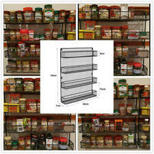 Metal Wall Mount 4 Tier Spice Herb Jar Rack Metal Kitchen Wire Organizer Black