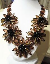 "Joan Rivers Extravagant Glass Flower 20"" Bib Necklace ""Cognac/Goldtone"" New"