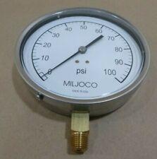 """MILJOCO P4598L-05 4.5"""" CONTRACTOR'S PRESSURE GAUGE 0 - 100 PSI - 1/4"""" NPT - USA"""