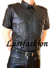leather shirt new  black leather uniform gay  Police shirt, Lederhemd schwarz