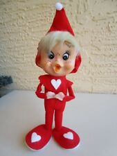 VINTAGE RARE ELF/PIXIE OPEN MOUTH&FRECKLES FELT RED OUTFIT ORNAMENT