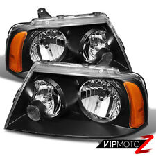 2003-2006 Lincoln Navigator Base Ultimate Black Front Headlights Assembly Pair