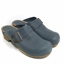 Sanita Sandra Clog Open Back Women's US 10 EU 41 Wood Footbed Blue Suede Leather