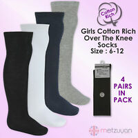 BAY 6 Kids Childrens Girls School Socks 4 Pairs High Over The Knee Cotton Rich