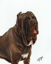 Original Oil Portrait Painting Neapolitan Mastiff Artist Signed Artwork Dog Art