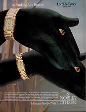 1987  NOBLIA CITIZEN  WATCH : hand Art : panther, seal & ram  PRINT AD 4-pg