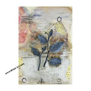 """5""""x7"""" MiTaK Art Signed Original Mixed-Media Paper Collage Used Abstract Material"""