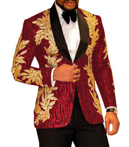 Red Luxury Jacket Blazer Shiny Sequin Applique Wedding Tuxedos Men Suits Party