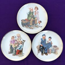 1986 Lot 3 Norman Rockwell Collector Plates Toymaker Cobbler Lighthouse Keeper