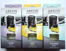 3 x 8 ml Refill  Areon Quality Car Perfume Luxury Air Freshener Gold / Platinum