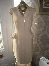 Karen Millen  Beige Tailored Peplum Dress Size 14