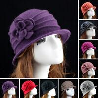 Women Ladies Winter Vintage Elegant Wool Flower Felt Hat Dress Cloche Bucket Cap