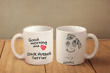 """Jack Russell Terrier - ceramic cup, mug """"Good morning and love """", Ca"""
