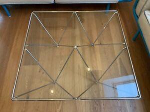 Paolo Piva Alanda Couchtisch Glas Metall Vintage Chrom Wire