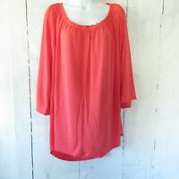 New Kelly Clinton Kelly Top 2X Orange Top Flutter Sleeves Bright Coral Plus Size