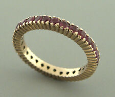 ANTIQUE VINTAGE 14K ROSE GOLD RUBY FULL ETERNITY WEDDING BAND RING SIZE 5.25