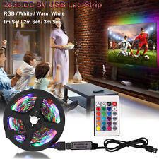RGB LED TV Strip Lights USB 2835 5V 1M 2M 3M TV Backlight Lamp USB/24 Key Remote