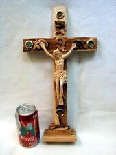 """15.5"""" Hand Carved Standing Crucifix - Desktop, Altar JERUSALEM INRI Wood Cross"""