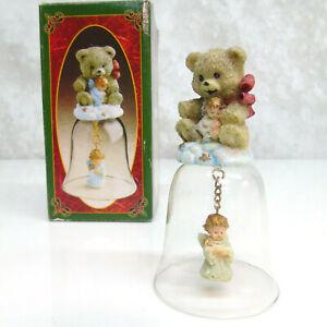 New Vintage Loving Bear GLASS BELL Baby Angel w/ Star Clapper Ruth Morehead 1997