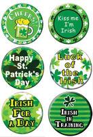 SET 6 x ST PATRICKS DAY PIN BUTTON LUCKY METAL BADGES IRISH IRELAND PARTY QR0060