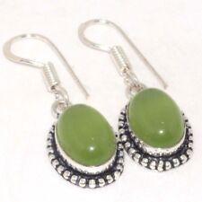 "R179 Chalcedony & 925 Silver Plated Earrings 1.6"" Jewellery"