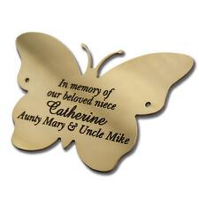 """2"""" forma a farfalla/placca in ottone massiccio TARGHETTA. incisione in profondità in ottone massiccio"""