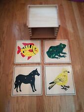 Montessori Biology Zoology Material - 4 Zoology Animal Puzzles with Cabinet