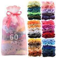 Premium Velvet Hair Scrunchies Hair 60 Pcs Bands Scrunchy Hair Ties Ropes Scrunc