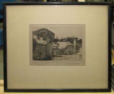 1920s Etching Bermuda Featherbed Alley St. Georges by Bermuda Artist Ray Allen