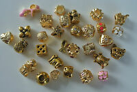 Charms for European Bracelets Assorted Golden or Gold Plated