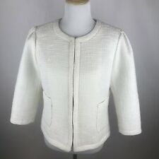 Kenar Womens Sz Large White Hook Closure Jacket Blazer