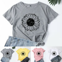Women's Short Sleeve Sunflower Print Summer Casual Loose T-Shirt Tops Blouse Tee