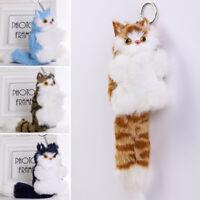 Fluffy Faux Fur Cat Keyring Charm Handbag Pompom Pendant Car Keychain Women Gift