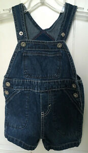 Oshkosh Genuine Baby 9M Shorts Overalls Blue Lightweight Denim Snap Crotch