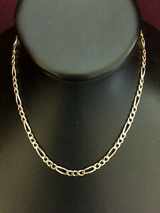 """16"""" 9ct SOLID GOLD FIGARO NECKLACE CHAIN  """"FULL UK HALLMARK"""""""