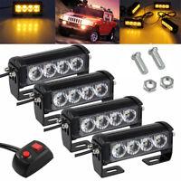 4x Auto Amber  4LED Strobe Flashing Hazard Emergeny Police Warning Grille Light