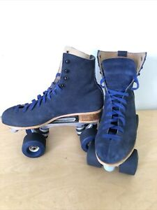 VTG Sure Grip Jogger 4 Blue Suede Roller Skates Blue Wheels Women's 8.5 9