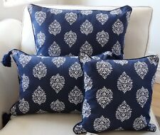 NAVY & WHITE PATTERNED CUSHION COVER 3 SIZES AVAILABLE - HAMPTONS, COASTAL LOOK