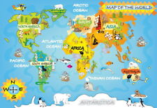 "001 Kid's - World Map Laminated 20""x14"" Poster"