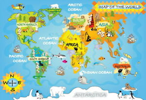 Details about  /Indonesia Map Aniamls Forest Maps Kids Educational Poster Print A1 A2