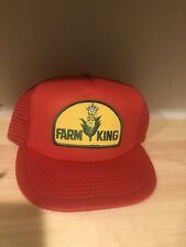 FARM KING RED Vintage Trucker SnapBack Hat Cap RETRO YELLOW GREEN PATCH 80'S NR