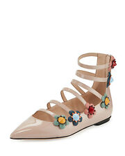NIB $950+ FENDI Flowerland Strappy Skimmer Flat Shoe NUDE Patent Leather 39.5