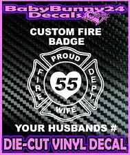 Custom Wife Fire Fighter Dept Decal Vinyl Sticker