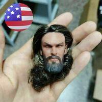 1//6 Jason Momoa Arthur Curry Head Carving PVC Head Sculpt Fit Muscle Figure