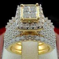 Fashion Women Men's 18K Yellow Gold Filled White Sapphire Ring Set  Jewelry 6-10