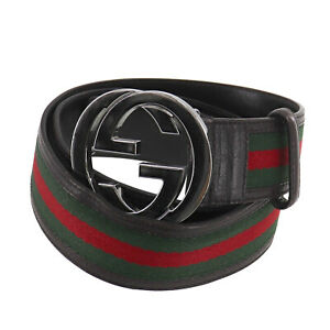 GUCCI Logos Web Stripe Belt Green Red Silver Canvas Leather Italy Auth #TT188 O