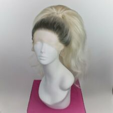 Silver Rooted White High Ponytail Wig
