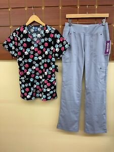NEW Gray Print Scrubs Set With Wink Small Top & Healing Hands Small Pants NWT